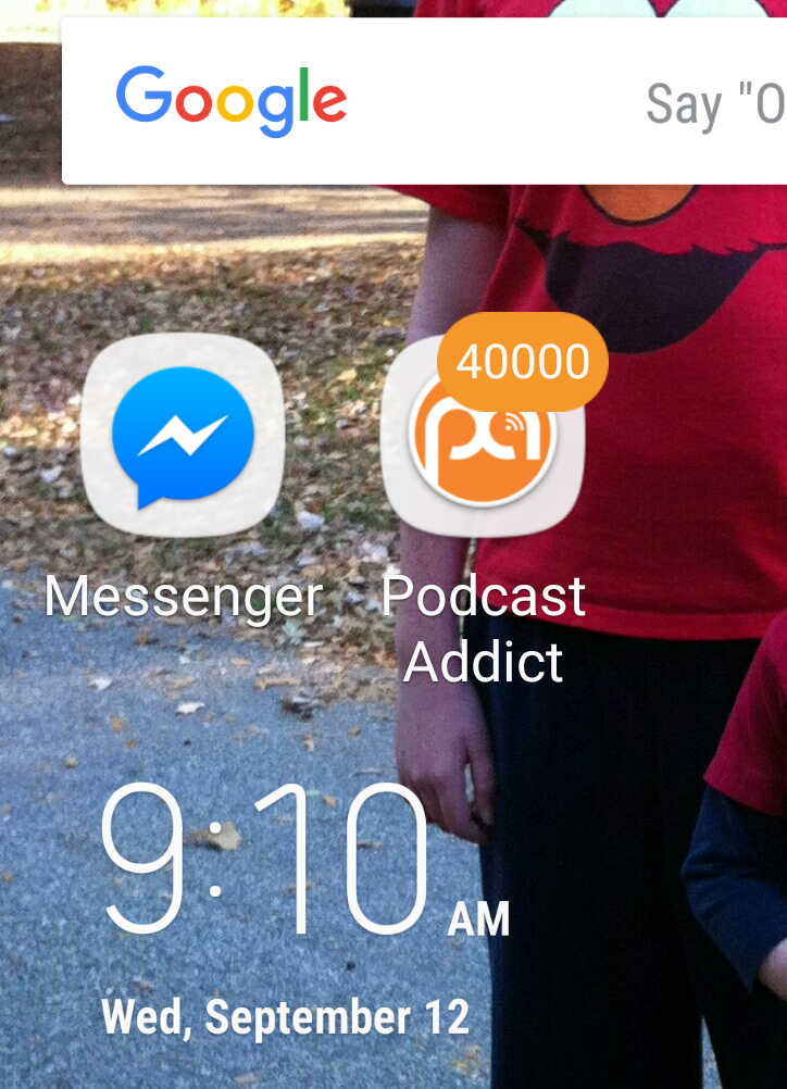 Screenshot of Podcast Addict icon with unplayed episode counter